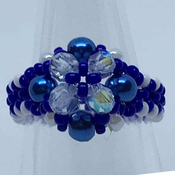 Bicone Beauty Beaded Ring - Blue 1