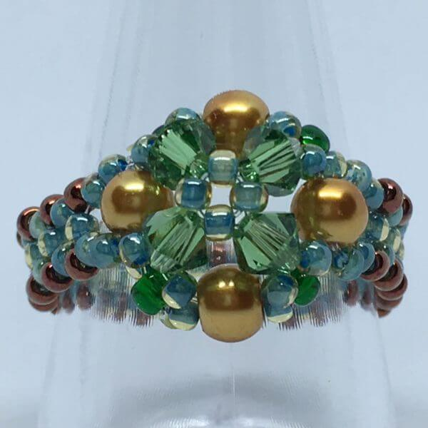 Bicone Beauty Beaded Ring - Green/Gold 1