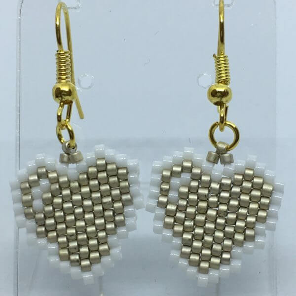 Brick Stitch Beaded Earrings - Gold Hearts 1