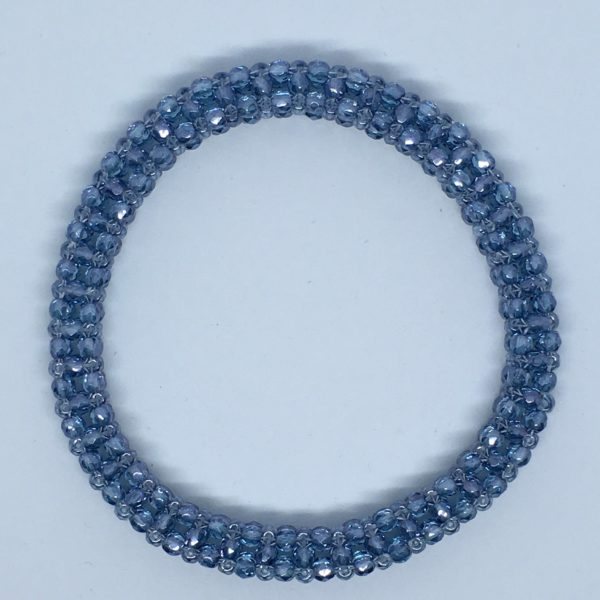 Cubic Right Angle Weave Bangle - Crystal Baby Blue 1